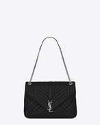 SAINT LAURENT Monogram envelope Bag D classic large soft envelope in black mixed matelassé leather f