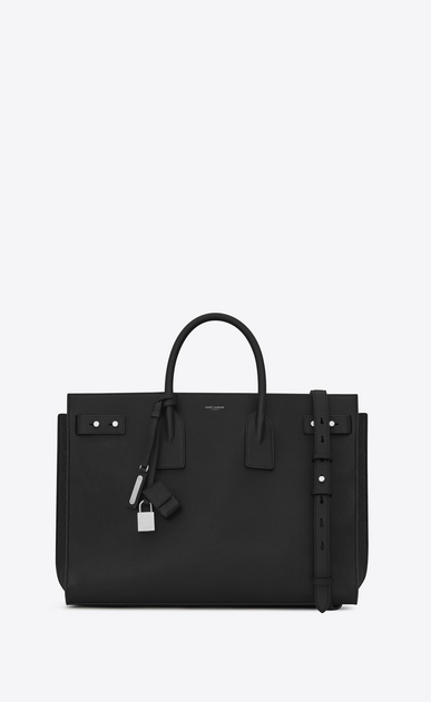 SAINT LAURENT Sac de Jour Men Uomo Large Supple SAC DE JOUR Bag in pelle nera a_V4