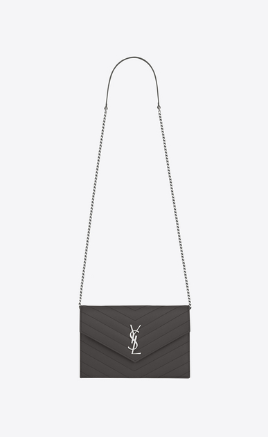 SAINT LAURENT Envelope Chain Wallet D monogram envelope chain wallet in earth a_V4