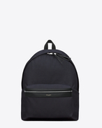SAINT LAURENT Backpack U classic hunting backpack in navy blue nylon canvas and black leather f