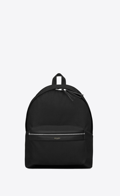 SAINT LAURENT Backpack U classic hunting backpack in navy blue nylon canvas and black leather a_V4