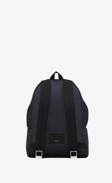 SAINT LAURENT Backpack U classic hunting backpack in navy blue nylon canvas and black leather b_V4