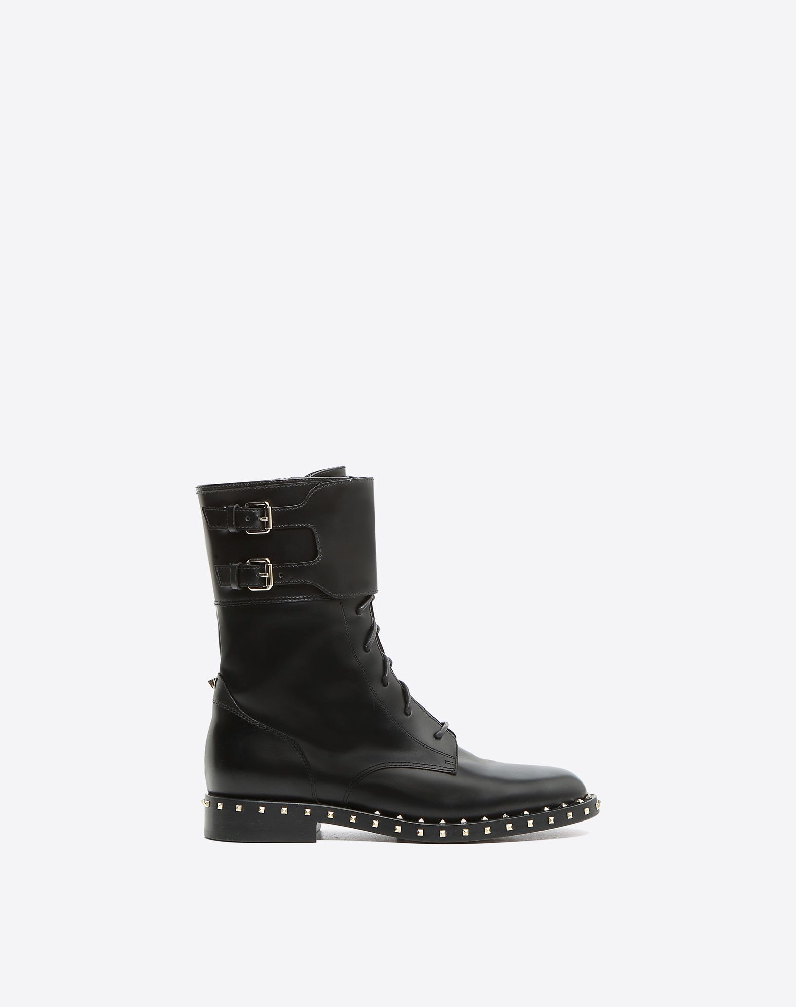Sole Stud Flat Combat Boot for Woman