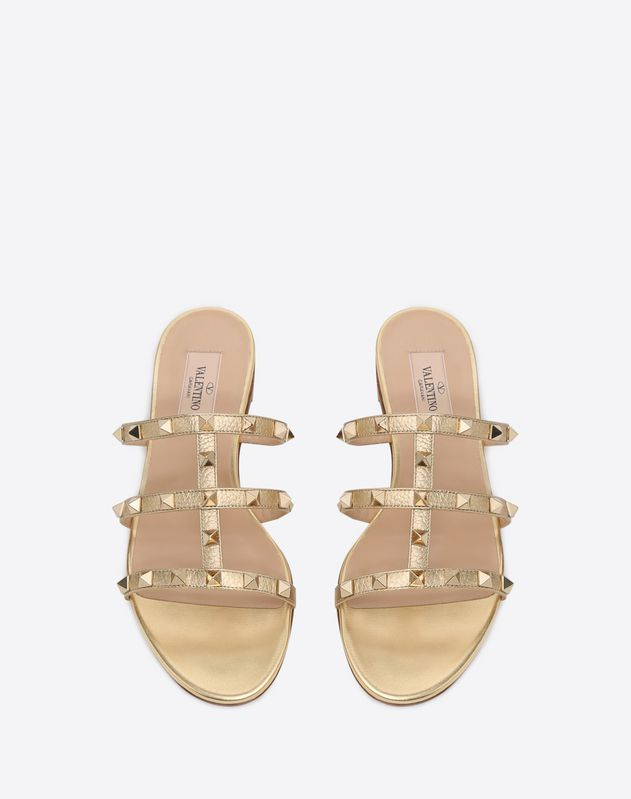 Metallic Rockstud caged Flat Slide Sandal