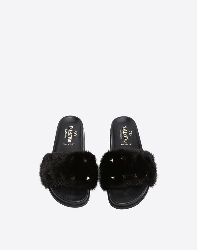 Mink fur flat slide sandal