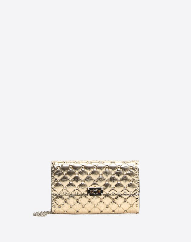 Metallic Crinkled lambskin Rockstud Spike crossbody clutch