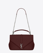 SAINT LAURENT Monogram College D classic large collège bag in dark red matelassé leather f