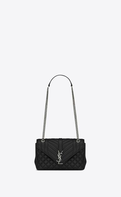 SAINT LAURENT Monogram envelope Bag D classic medium soft envelope monogram in black leather a_V4