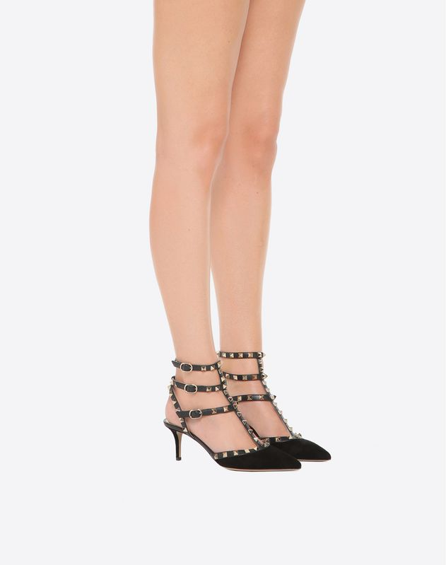 Velvet Rockstud caged Pump 65mm