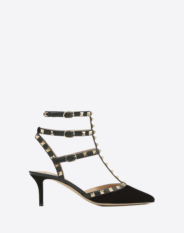 Suede Cage Rockstud Pump 65mm