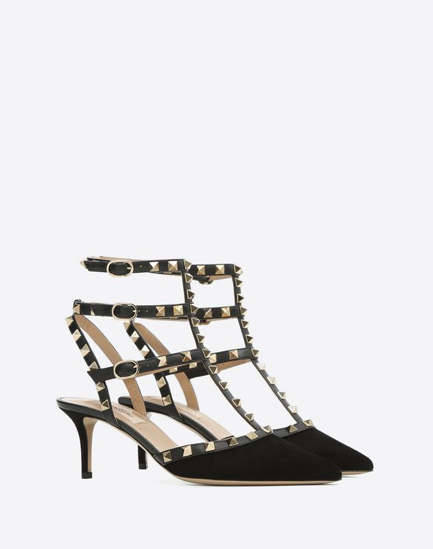 Rockstud velvet ankle strap pump 65 mm