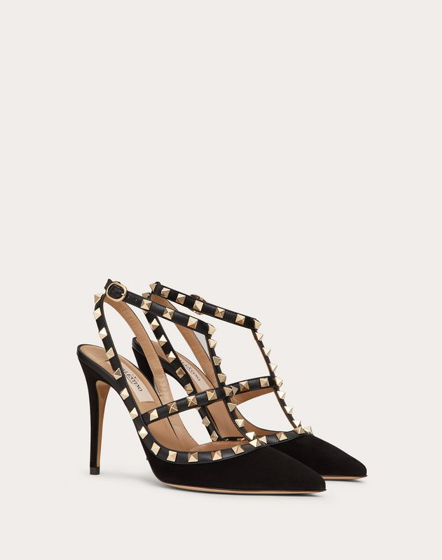 Navy Suede Rockstud Pump 100mm