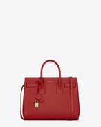 SAINT LAURENT Sac De Jour Small D classic small sac de jour bag in lipstick red leather f