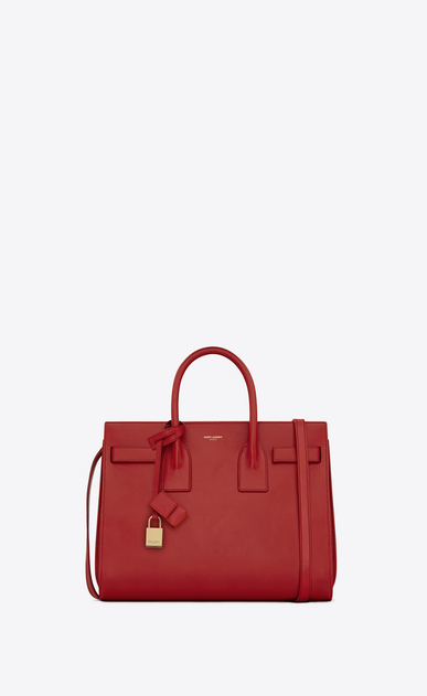 SAINT LAURENT Sac De Jour Small D classic small sac de jour bag in lipstick red leather a_V4