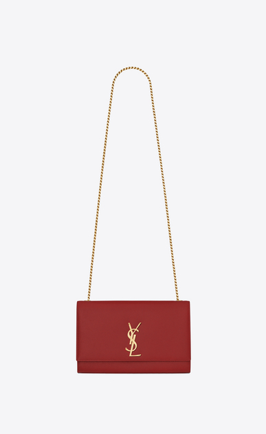 SAINT LAURENT MONOGRAM KATE Woman medium kate chain bag in red textured leather a_V4