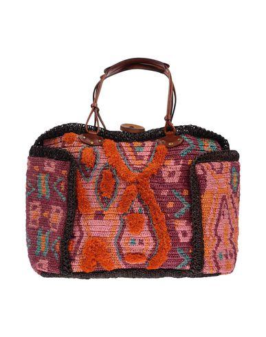 JAMIN PUECH レディース ハンドバッグ 赤茶色 ラフィア 90% / 柔らかめの牛革 10%