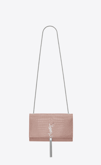 SAINT LAURENT MONOGRAM KATE WITH TASSEL Woman Medium KATE tassel chain bag in powder pink crocodile embossed shiny leather a_V4