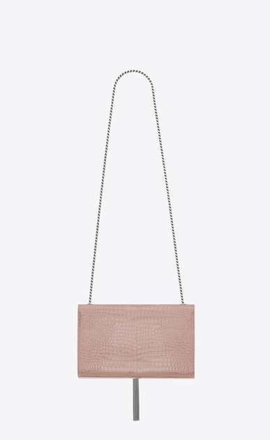 SAINT LAURENT MONOGRAM KATE WITH TASSEL Donna Satchel kate medium tassel rosa cipria in coccodrillo stampato lucido b_V4