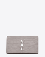 SAINT LAURENT Monogram D Large MONOGRAM wallet with flap in mouse-gray crocodile embossed shiny leather f