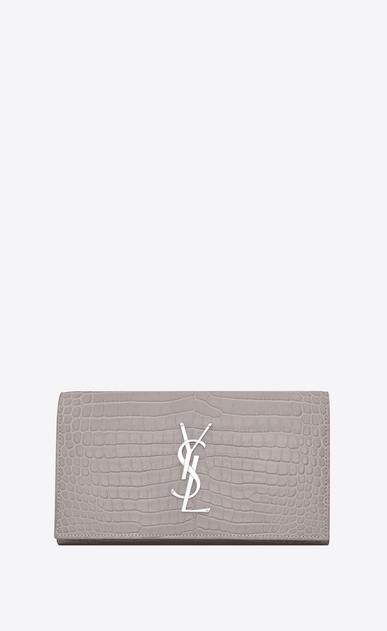 SAINT LAURENT Monogram D Large MONOGRAM wallet with flap in mouse-gray crocodile embossed shiny leather a_V4