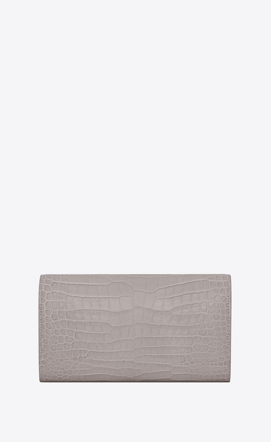 SAINT LAURENT Monogram D Large MONOGRAM wallet with flap in mouse-gray crocodile embossed shiny leather b_V4