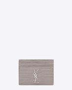 SAINT LAURENT Monogram D Monogram Kartenetui aus mausgrauem Glanzleder mit Krokodilledereffekt f