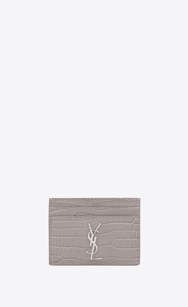 SAINT LAURENT Monogram D MONOGRAM card case in mouse-gray crocodile embossed shiny leather a_V4
