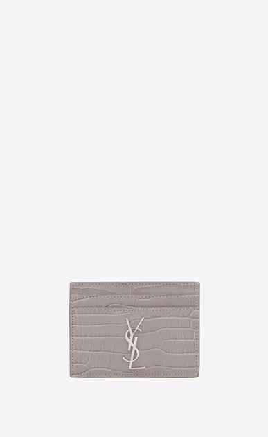 SAINT LAURENT Monogram D Porta carte MONOGRAM grigio in coccodrillo stampato lucido a_V4