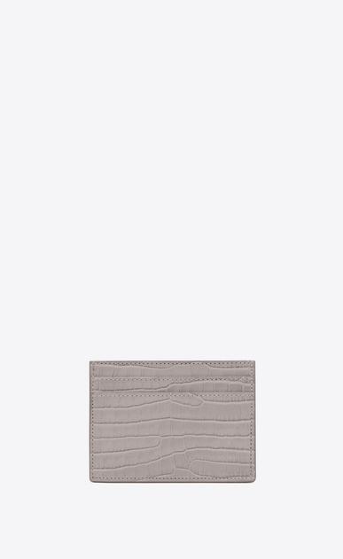 SAINT LAURENT Monogram D Porta carte MONOGRAM grigio in coccodrillo stampato lucido b_V4