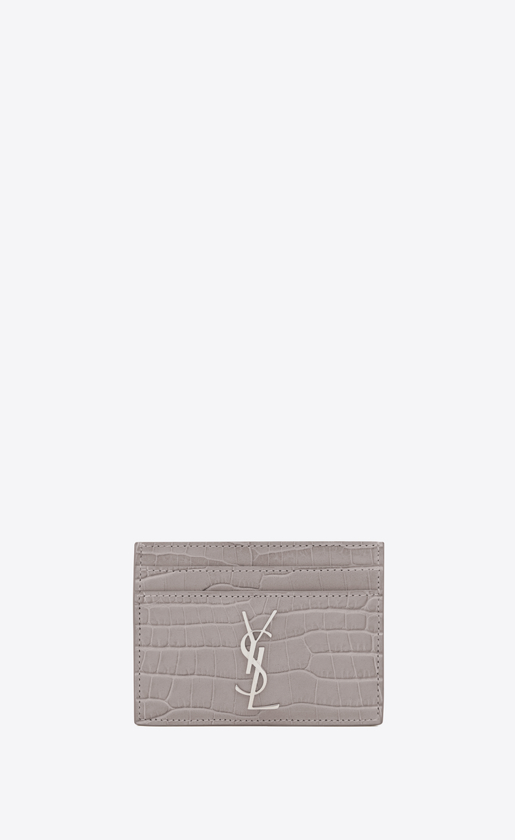 saint laurent porte cartes monogramme en cuir brillant emboss fa on crocodile gris souris. Black Bedroom Furniture Sets. Home Design Ideas