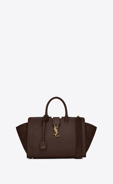 SAINT LAURENT MONOGRAMME TOTE Woman Small DOWNTOWN YSL leather and suede cabas bag in hazel a_V4