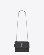 SAINT LAURENT Sunset D Sac Medium SUNSET en cuir brillant embossé façon crocodile graphite f