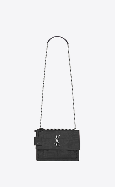 SAINT LAURENT Sunset D Medium SUNSET bag in graphite crocodile embossed shiny leather a_V4