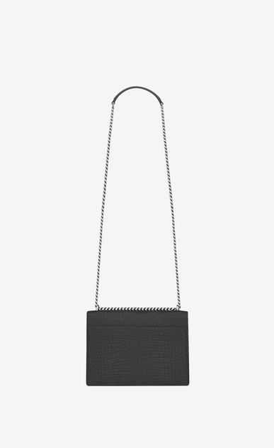 SAINT LAURENT Sunset Femme Sac Medium SUNSET en cuir brillant embossé façon crocodile graphite b_V4