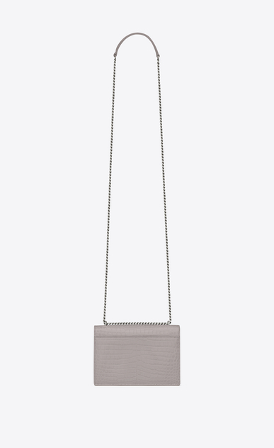 SAINT LAURENT Sunset D SUNSET chain wallet in mouse-gray crocodile embossed shiny leather b_V4