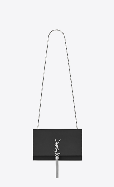 SAINT LAURENT MONOGRAM KATE WITH TASSEL D Satchel medium à pompon KATE en cuir lisse graphite a_V4