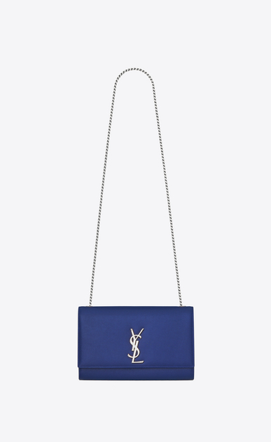 SAINT LAURENT MONOGRAM KATE Woman medium kate chain bag in royal blue textured leather a_V4