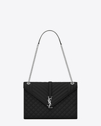 SAINT LAURENT Monogram envelope Bag D Bag Large ENVELOPE in pelle mista matelassé a texture grain de poudre nera f