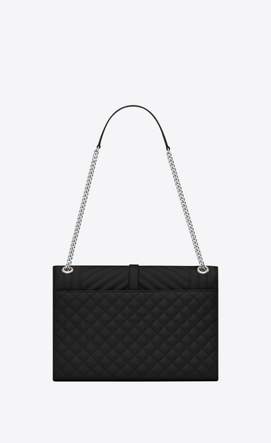 SAINT LAURENT Monogram envelope Bag D Large ENVELOPE bag in mixed grain de poudre matelassé leather in black b_V4