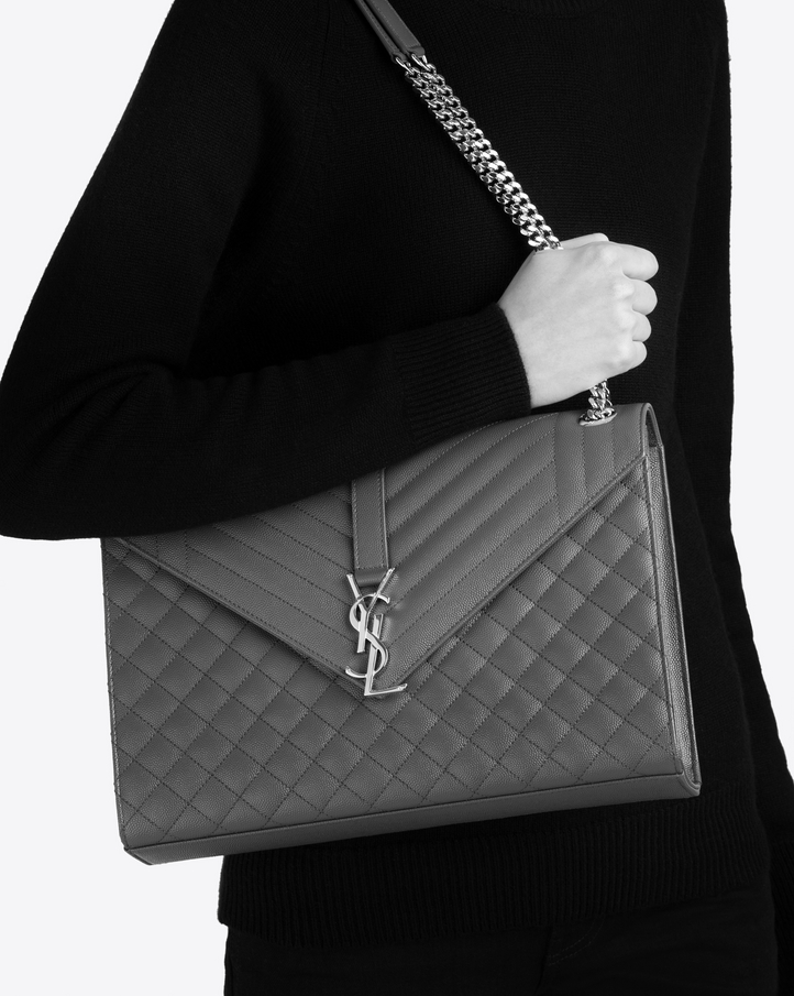 Saint Laurent Large Envelope Bag In Black Mixed Textured Leather ... a303a875a8379