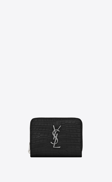 SAINT LAURENT Monogram Woman compact zip around wallet in black crocodile embossed shiny leather a_V4