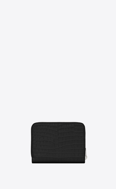 SAINT LAURENT Monogram D monogram compact zip around wallet in black crocodile embossed shiny leather b_V4
