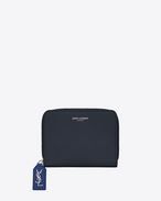 SAINT LAURENT Rive gauche SLG D Compact RIVE GAUCHE zipped wallet in dark and royal blue grained leather f