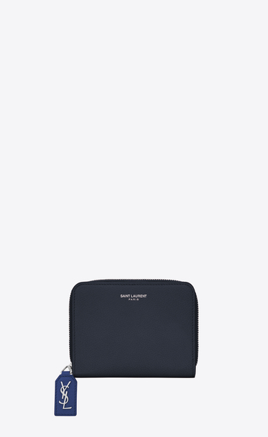 SAINT LAURENT Rive gauche SLG D Compact RIVE GAUCHE zipped wallet in dark and royal blue grained leather v4