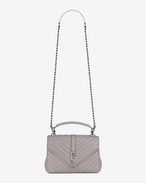 SAINT LAURENT Monogram College D Medium COLLEGE bag in mouse-gray matelassé leather f