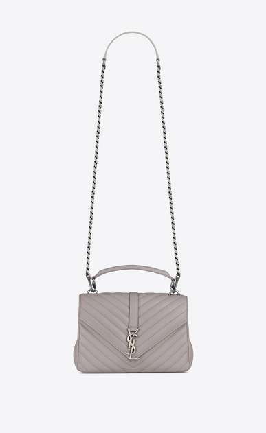 SAINT LAURENT Monogram College D Sac medium COLLEGE en cuir matelassé gris souris a_V4