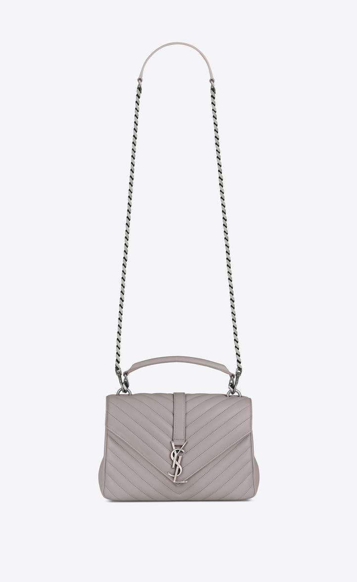 Saint Laurent Medium College Bag In Mouse Gray Matelassé Leather