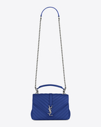 SAINT LAURENT Monogram College D Medium COLLEGE bag in royal blue matelassé leather f