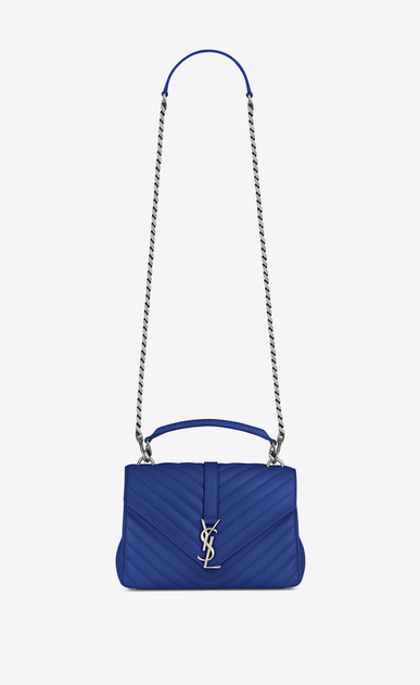 SAINT LAURENT Monogram College D Medium COLLEGE bag in royal blue matelassé leather a_V4