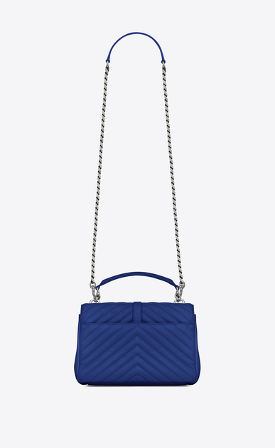 SAINT LAURENT Monogram College D Medium COLLEGE bag in royal blue matelassé leather b_V4